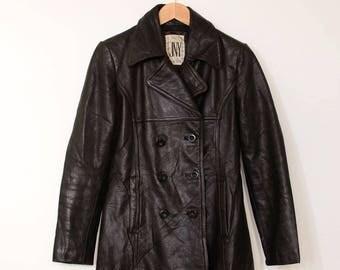 Vintage 70's Style Leather Blazer Jacket Black Coat Women's Small UK 10