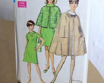 Vintage Pattern Cape and Dress Simplicity 7544 Misses Size 12 Bust 34