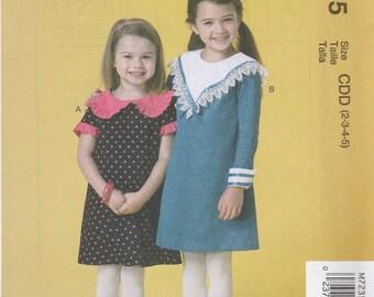 Girls' Dress Pattern McCalls 7235 Sizes 2 3 4 5 Uncut