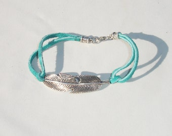 Turquoise Suede Feather Bracelet