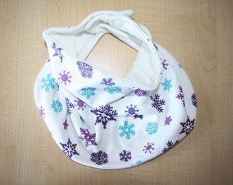 Organic Cotton Baby Scarf Bib, Baby Girl Bandana Bib, Bandana Bib, Drool Bib, Purple Snowflakes Scarf Bib, Baby Shower Gift, Bibdana