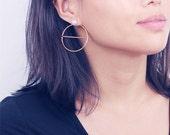 Geo large open circle earrings - Large moon earrings - large circle studs - pearl earrings - front back earrings
