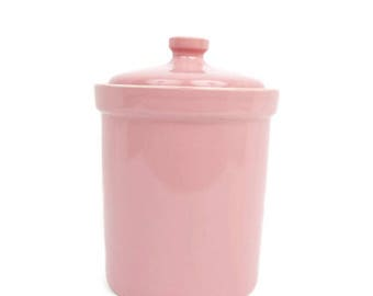 Vintage Pink Canister Ceramic Rose Cookie Jar Kitchen Nursery Dresser Mauve Candy Jar Made in Japan Cotton Ball Container Utensil Holder