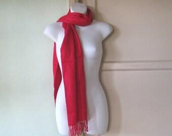 Royal Emblem-Embellished Red Cashmere Blend Scarf~Warm Red Vintage Winter Scarf~Unisex Gift Scarf; Free Shipping/U.S.