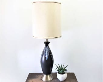 massive mid century modern lamp 1950s1960s black art pottery table lamp with blue u0026