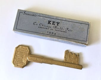 1934 World's Fair RARE Art Deco Souvenir Large Gold KEY To Chicago Worlds Fair Century of Progress in Original Box