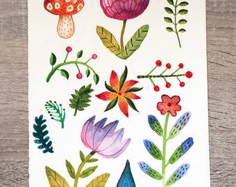 Floral Trio - original watercolor paintings