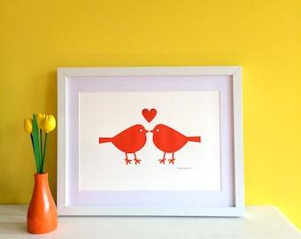 Love Birds Screenprint, Orange Bird Art, Cute Nursery Print, Orange Scandi Art, Love Print, Cute Birds Print, Nursery Wall Art, Summer Art