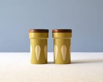 Rare Vintage Lotus Cathrineholm Green and Light Yellow Shakers Containers