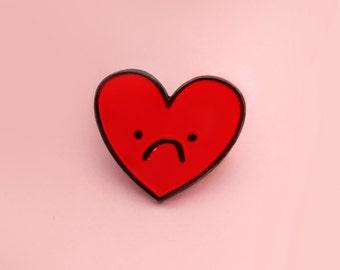 Sadface, enamel heart pin