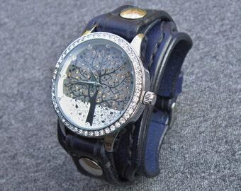 Navy Blue Watch, Wrist Watch, Ladies Watch, Bracelet Watch