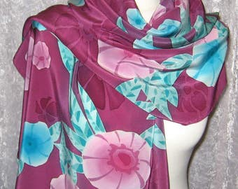 Kaleidoscope of flowers - hand painted silk scarf