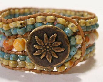 Beaded Cuff Bracelet, Beaded Leather Cuff - 906