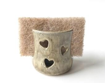 Kitchen Sponge Holder - Pottery Sponge Holder - Ceramic Sponge Holder - Green Sponge Holder - Green Sponge Caddy - Clay Sponge Dish