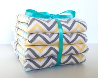 Baby Wash Cloth Set - Children's Wash Cloths - Wash Rags - Ladies Facial Cloths - Baby Bath Cloths - Baby Bath Set - Baby Gift Set - Chevron
