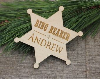 Ring Bearer Badge, Ring Security Badge, Personalized, Ringbearer, Ring Bearer, Badge, Ring Security, Rustic, Western, Wedding, Dress Up