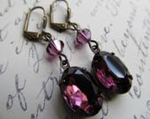 RESERVED For Sarah Gothic Earrings Art Nouveau Earrings Art Deco Earrings 1920s Drop Earrings Miss Fisher Amethyst Dangle Earrings- Violet