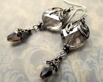Gothic Earrings Steampunk Earrings Art Nouveau Earrings Art Deco Earrings 1920s Earrings Silver Earrings Black Dangle Earrings- Black Heart