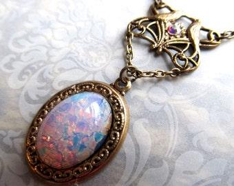 Art Nouveau Fire Opal Necklace Opal Necklace Art Deco Necklace Pink Opal Necklace Steampunk Necklace Lovebird Jewelry 1920s Necklace- Kiss