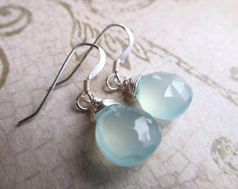 Opal Earrings Silver Fire Opal Earrings Opal Earrings Ocean Opal Earrings Chalcedony Earrings Blue Earrings Green Earrings- Deep Waters