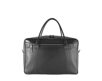 Leather weekender travel bag, duffel UDO // black (Italian calf skin) - UNIQUE