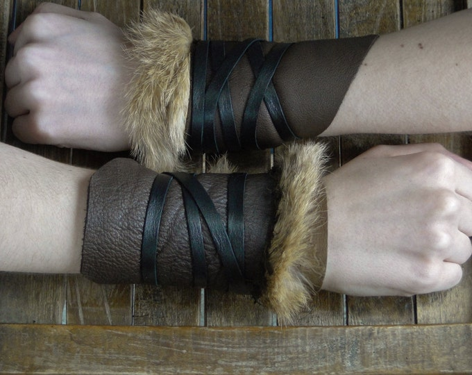 Leather Cuffs - Warrior Viking Tribal Larp Costume Cosplay - Pair #20a