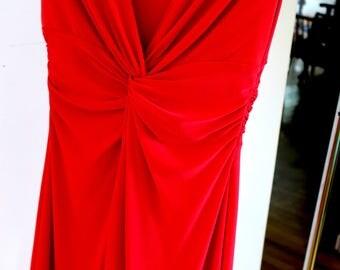 Ralph Lauren Chaps Cerise Dress sz Small 95% Polyester 5 pct Elastane Silky gorgeous dresss cap sleeves New Old Stock Never worn