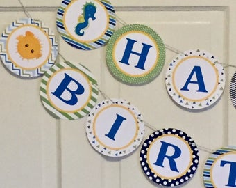 SEA LIFE Theme Happy Birthday or Baby Shower Party Banner - Blue Green Yellow - Party Packs Available