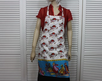 Vintage Sewing Theme Apron Full White Red Blue
