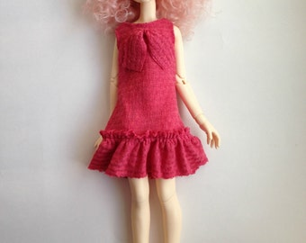MSD 1/4 Vintage Style Pink Dress with Hair Bow BJD