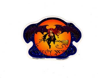Witchy Woman Witch Broom Die Cut Decal Sticker
