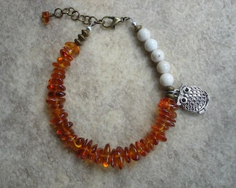 Asymmetrical Amber Boho Bracelet with Puffed Owl Charm, Gemstone Bracelet, Nature Jewelry, OOAK Jewelry, Naturelover