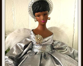 Silver Christmas Angel, Angel Tree Topper in Silver Lame, African American Tree Top Angel, Black Angel in Silver Gown