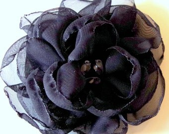 Free shipping/Hair Clip /Black fabric with black pearl / Unique Accessory