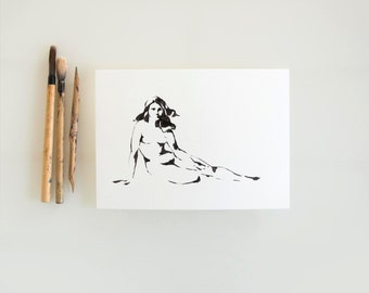 Original female nude, nude ink drawing, female nude art, modern pose nude, minimal nude painting, figurative ink nude art by Cristina Ripper