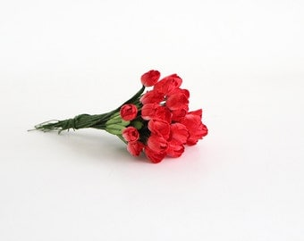 50 pcs - Red Tulips paper flowers - Wholesale pack