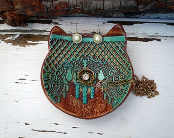 Cat Jewelry Dish, Pottery Cat Bowl, Handmade Ceramic Cat Ring Holder, Small Textured Ring plate Cat Dish, Ready to Ship