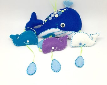Blue Whale felt baby mobile, under the sea nursery mobile decor with dangling blue water drops handmade in felt, nursery and crib decor gift