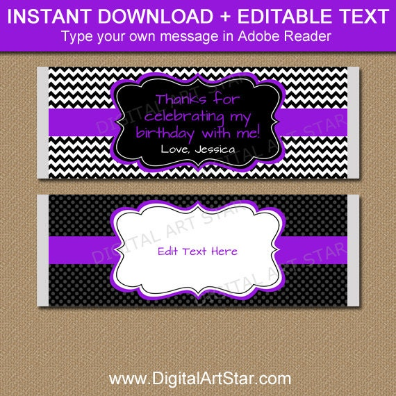 Birthday Candy Bar Wrapper Template, Chocolate Wrappers, Baby Shower ...