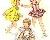 Simplicity 2094 UNCUT Adorable Vintage 50s Toddler Girls Playsuit, Sunsuit with Ruffles and Hoody Jacket Sewing Pattern Size 1