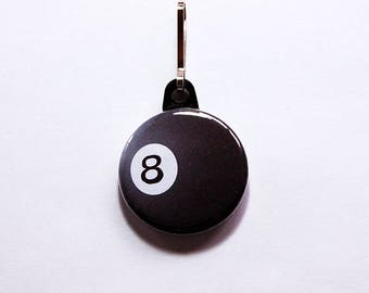 Eight ball zipper pull, Billiards, Pool Player, backpack zipper pull, zipper pull, Black, Pool zipper pull, love to play pool (7519)