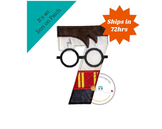 Boy Wizard birthday number 7 inspired by Harry Potter machine embroidered fabric iron on no sew patch,  Barn yard patch for kids clothing