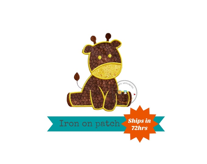 Sweet baby giraffe iron on applique, brown and yellow giraffe machine embroidered no sew patch for kids clothing, jackets, ready to ship