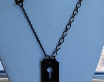 "Antique Key Hole, Skeleton Key, Heart, Love Necklace, 32"" (2B)"