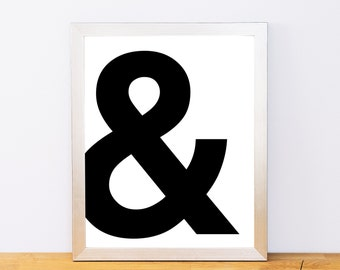 Ampersand, & Print, Typography Print, Printable Monogram, Printable Art, Minimal Decor, Black and White Wall Art, Digital Download