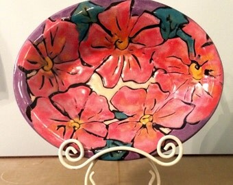 Vintage Colorful Majolica Handmade, Hand-painted Oval Pottery Ceramic Terracotta Serving Bowl or Wall Decor