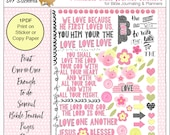 Sale! Printable Bible Journal Page Kit Set 1  Print Sticker Paper or Copy Paper & Glue Pink Yellow