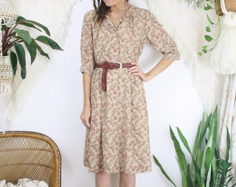 Paisley Japanese Vintage Long Sleeve Midi Dress, Small 4175