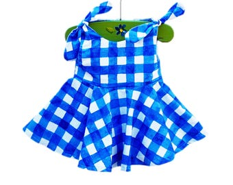 Painted Gingham Dress - Michael Millers - Baby Blue Dress - Comtemporary Style - Spring Outfit - Baby Wearing - Cotton - Custom Made USA