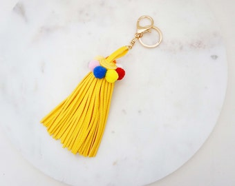 Yellow and Multicolor Leather Tassel Statement Keychain